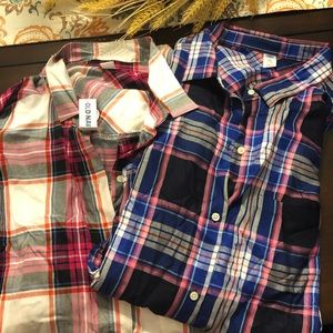 Two Old Navy Plaid Shirts